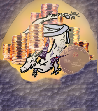 drawing of a dragon amid coins